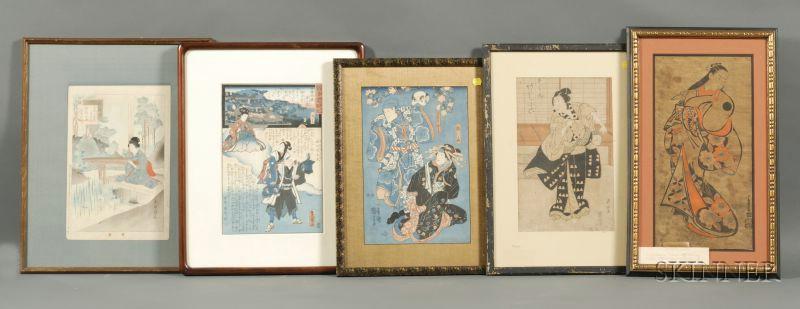 Ten Framed Japanese Prints