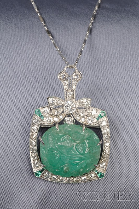 Carved Emerald, Emerald, and Diamond Pendant/Brooch