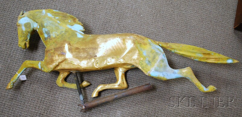 Gilt Molded Copper Full-body Running Horse Weather Vane