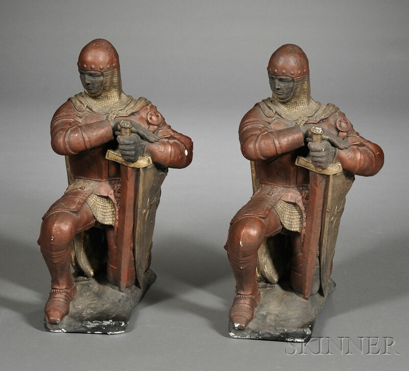 Pair of Painted Plaster Knights