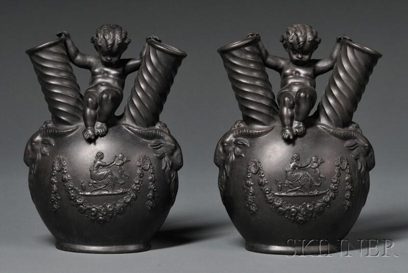 Pair of Wedgwood Black Basalt Figural Vases
