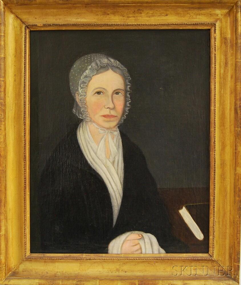 American School, 19th Century      Folk Portrait of Cynthia Foster.