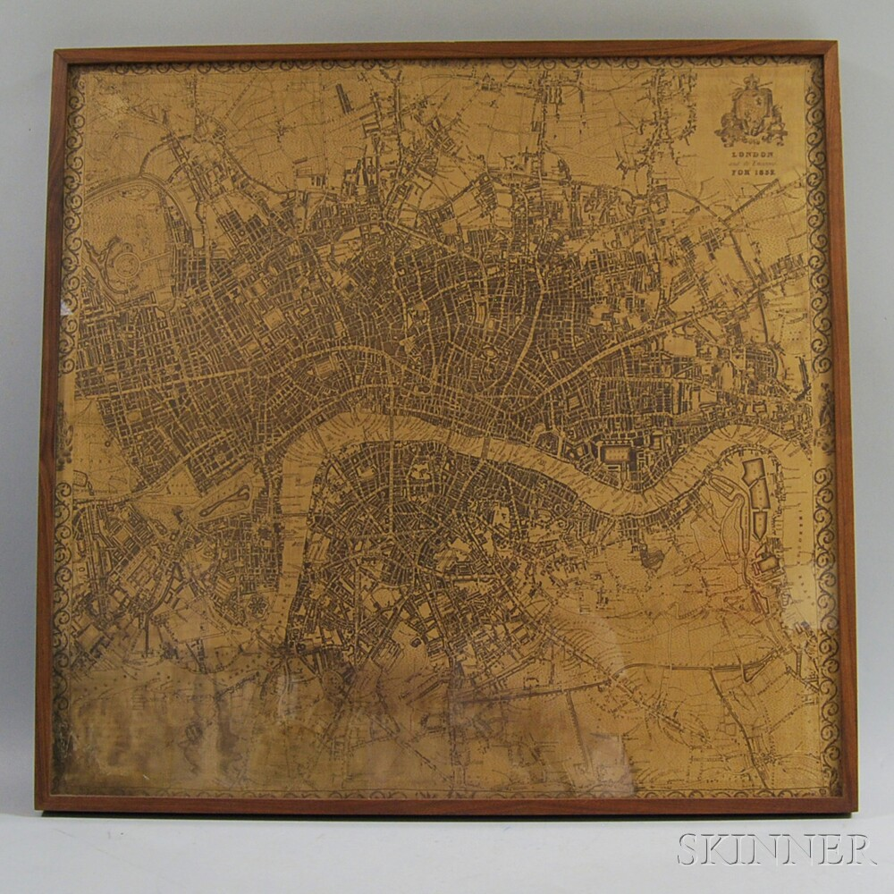 Framed Cloth Printed with a Historical Map of London