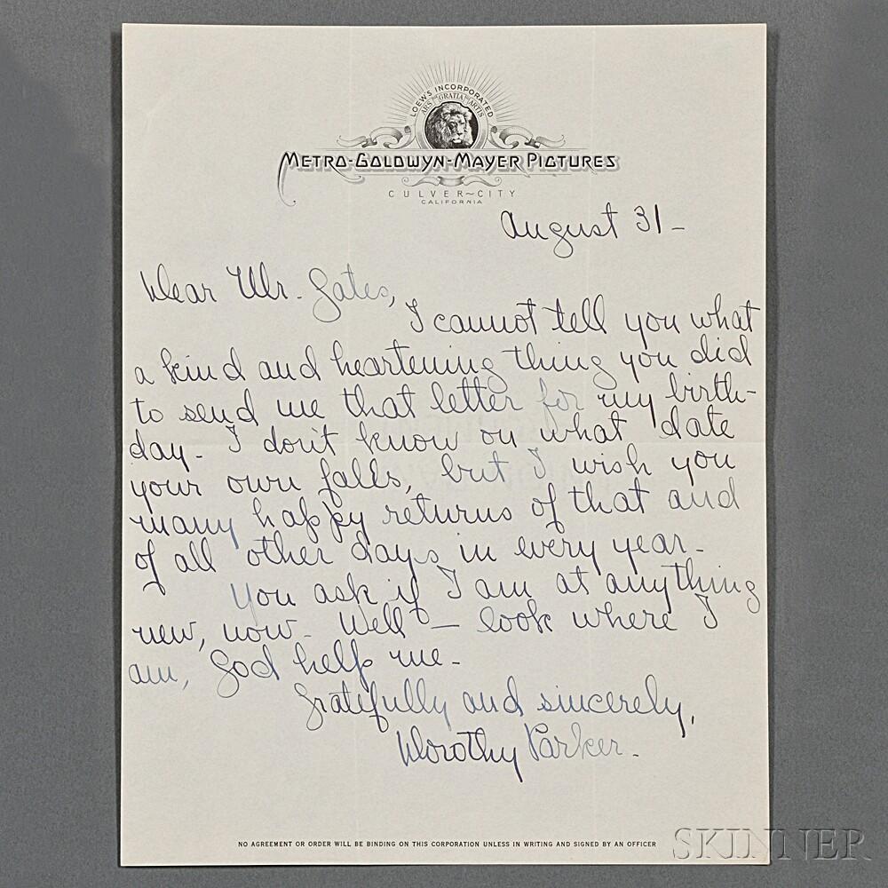 Parker, Dorothy (1893-1967) Autograph Letter Signed.