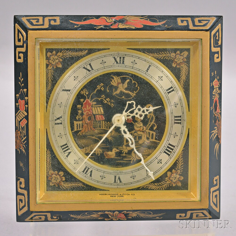 "Chelsea Elecronometer ""Chinese Lacquer"" Desk Clock for Abercrombie & Fitch"