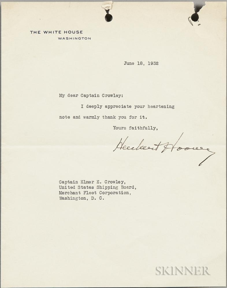 Hoover, Herbert (1874-1964) Typed Letter Signed, 18 June 1932.