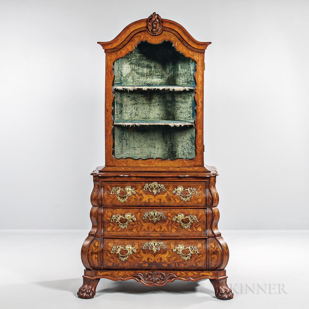Dutch Walnut-veneered Marquetry Secretary Bookcase