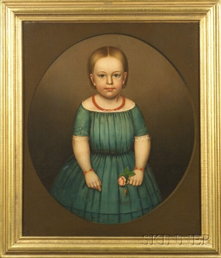 Attributed to Horace Bundy (Vermont and New Hampshire, 1814-1883)    Portrait of Little Girl in Blue Wearing Coral Jewelry.