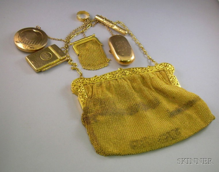 Antique Gold Plate Mesh Purse with Assorted Gold Attachments