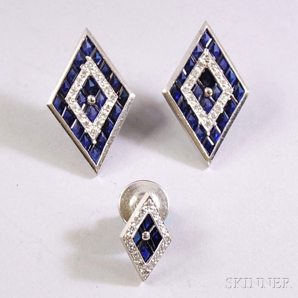 Two 14kt White Gold, Sapphire, and Diamond Items
