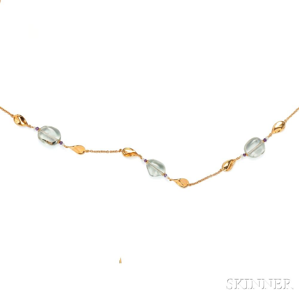 18kt Gold Gem-set Necklace, Miseno