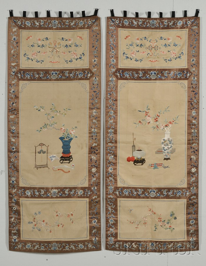 Pair of Embroidered Hanging Panels