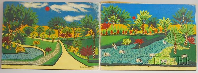 Israel Litwak (Russian/American 1867-1960)      Two Works:   Kerhonkson, N.Y.