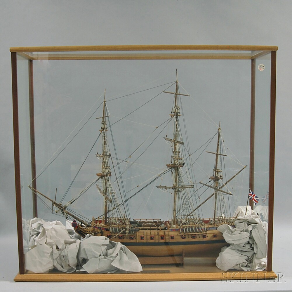 Cased Wooden Model of the English Frigate Ajax