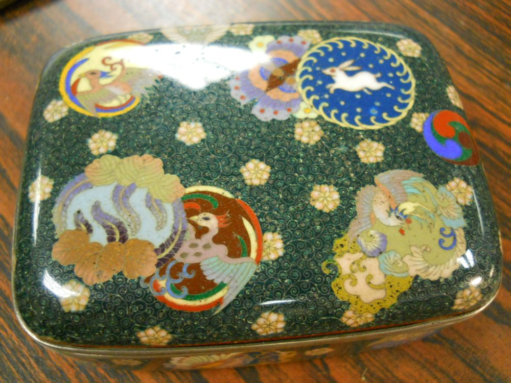 Two Silver Cloisonne Covered Boxes