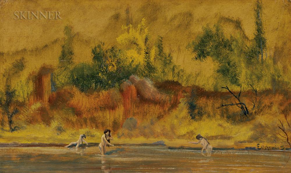 Louis Michel Eilshemius (American, 1864-1941)      Three Nude Women in Water