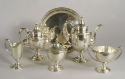 Five-piece Sterling Tea and Coffee Service with Associated Salver