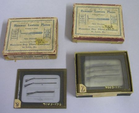 Set of Twelve Glass Plate Slides Depicting Guns as Illustrated in Firearms in   American History 1600-1800