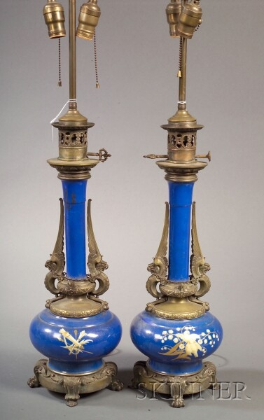 Pair of Aesthetic Movement Paris Porcelain and Bronze Mounted Lamps