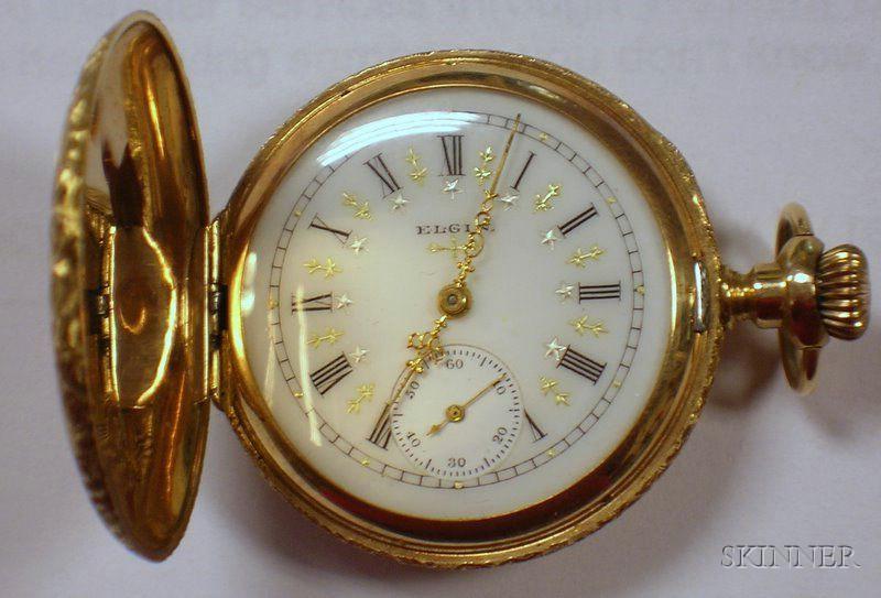 Two 14kt Gold Lady's Hunter Case Savonnette Elgin Pocket Watches