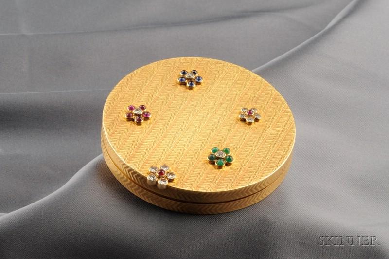 18kt Gold Gem-set Compact, Cartier, Paris