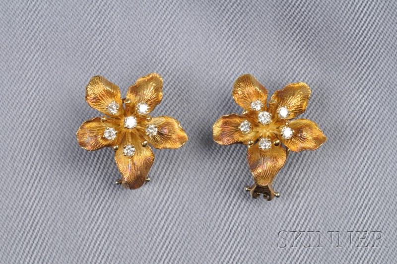 18kt Gold and Diamond Flower Earclips, Tiffany & Co.