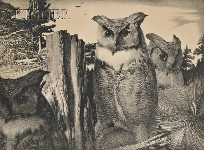 Stow Wengenroth (American, 1906-1978)      Three Owls