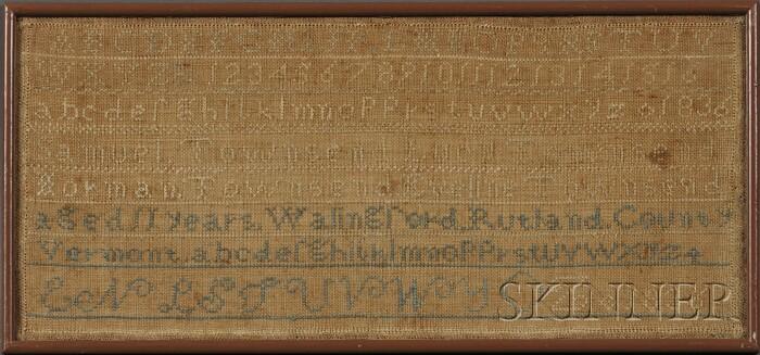 Rutland County, Vermont, Needlework Family Register Sampler