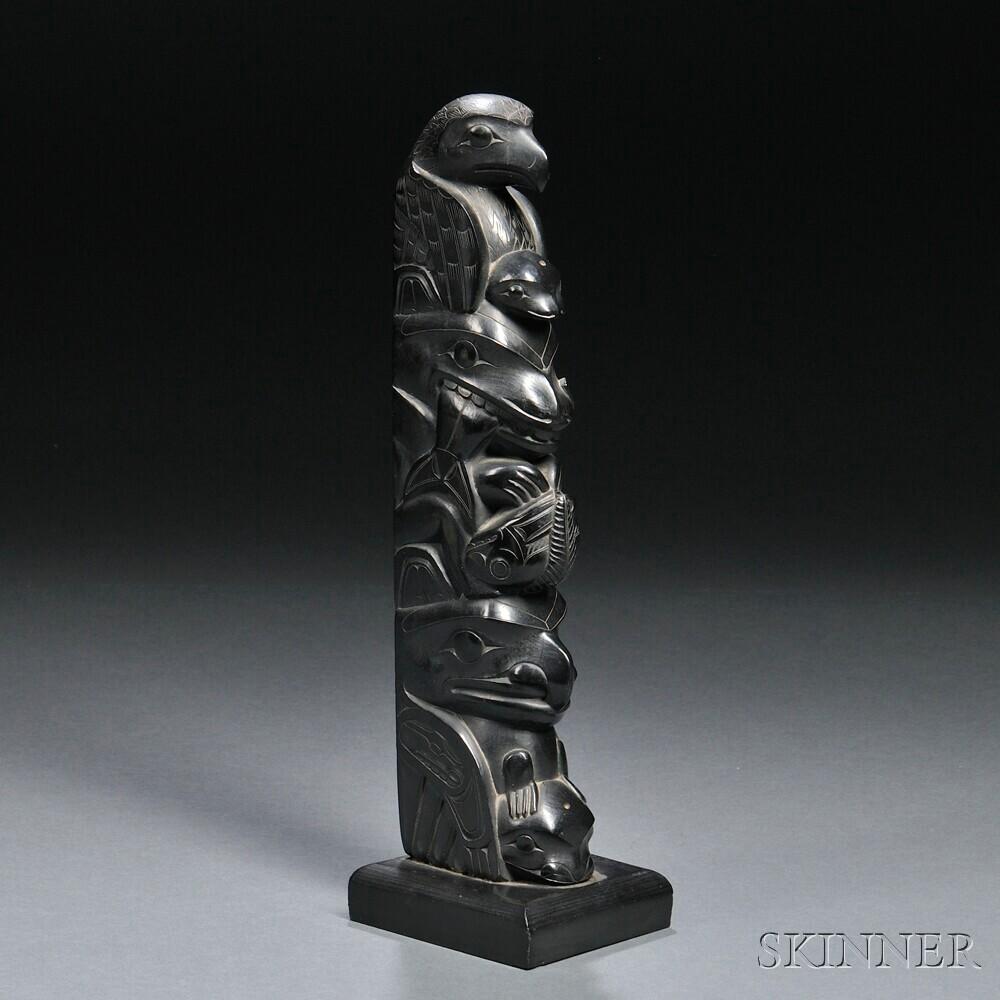 Haida argillite model totem pole carving by john cross
