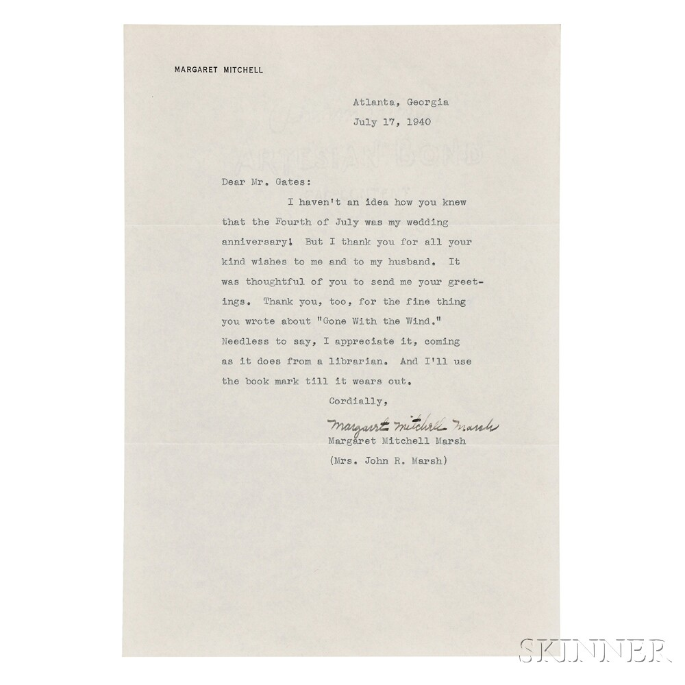 Mitchell, Margaret (1900-1949) Typed Letter Signed, 17 July 1940.