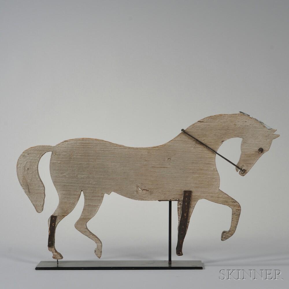 White-painted Cutout Pine Trotting Horse Weathervane