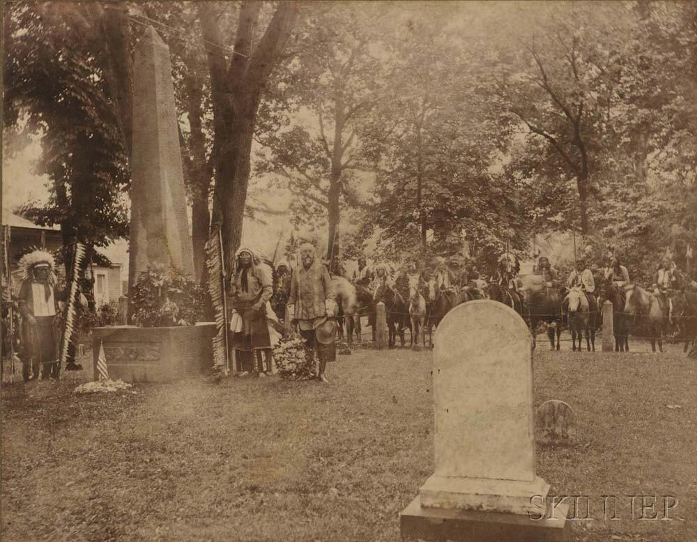 Cody, Buffalo Bill (1846-1917) Photograph Taken at Uncas's Grave, 1907.