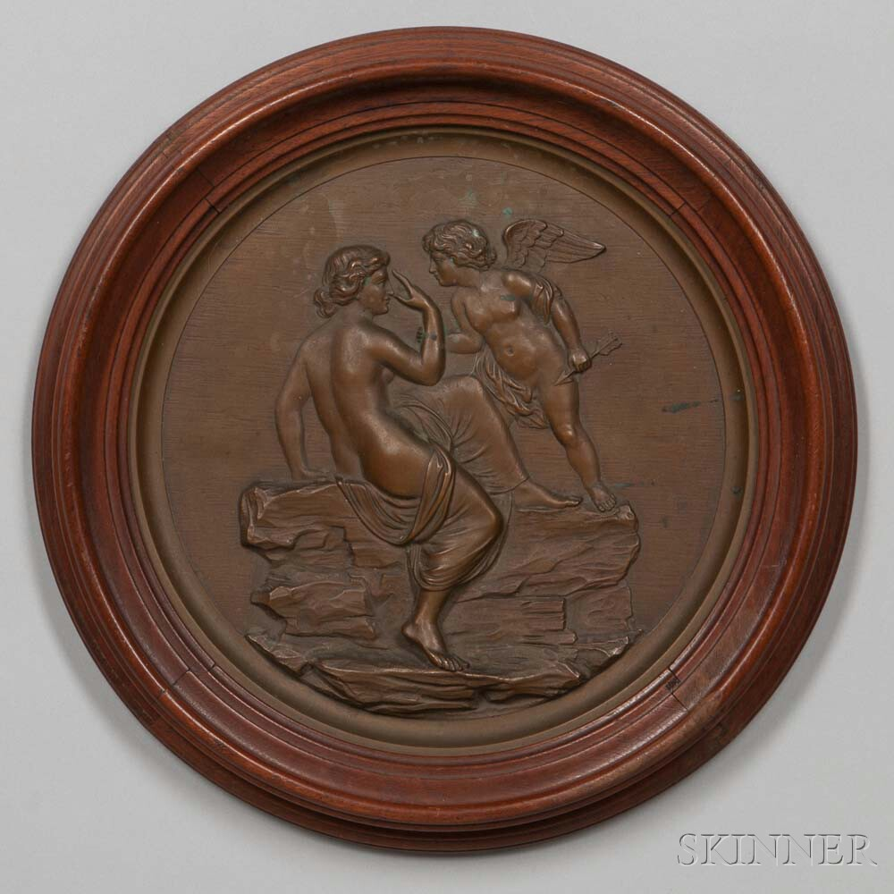 Framed Cast Bronze Medallion of Cupid and Psyche