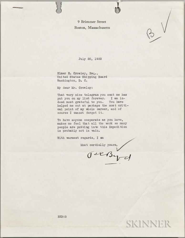 Byrd, Richard E. (1888-1957) Typed Letter Signed, 20 July 1933.