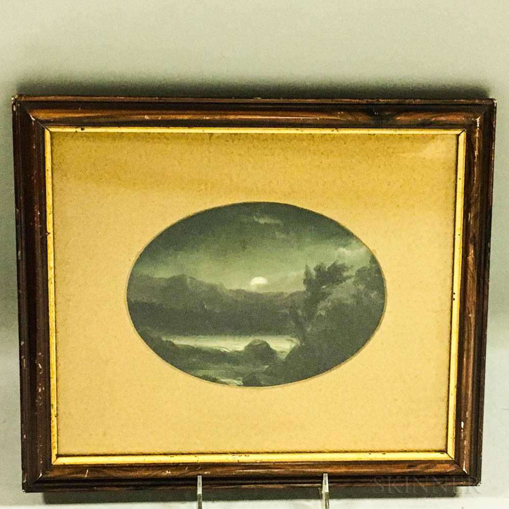 Small Framed Oil Picture of a Moonlit Landscape