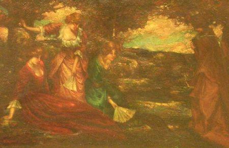 Framed Oil on Panel Scene with Female Figures