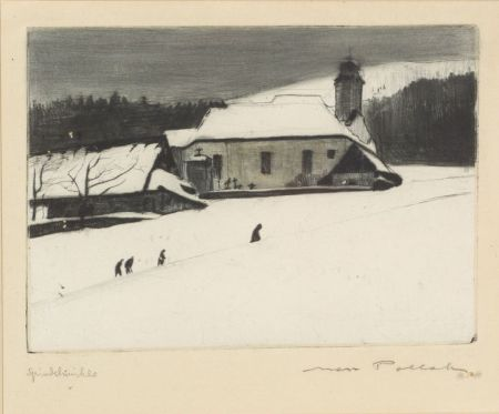 Max Pollak (Austrian, 1886-1950)    Lot of Two Etchings: Winter Churchyard