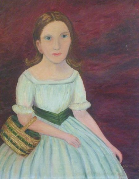 Unframed Oil on Canvas of a Girl in White Dress with Green Sash