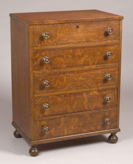 R.J. Horner & Co. Diminutive Oak Veneer Five-Drawer Chest