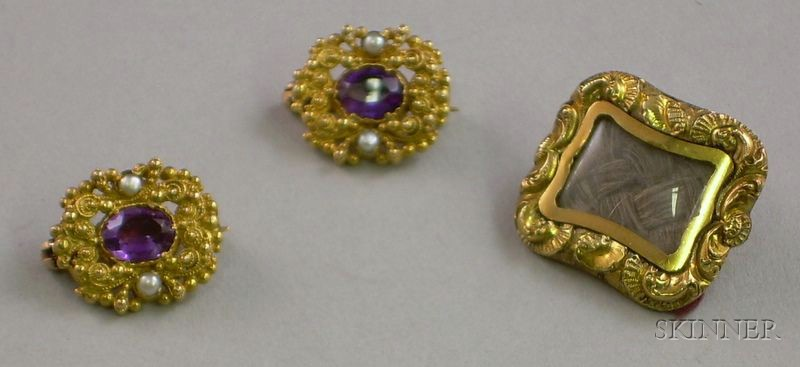 Antique 12kt Gold Memorial Brooch and a Pair of 9kt Gold and Purple Stone of Pins.