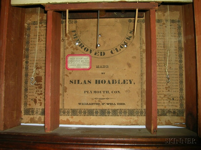 Mahogany Pillar and Scroll Clock by Silas Hoadley