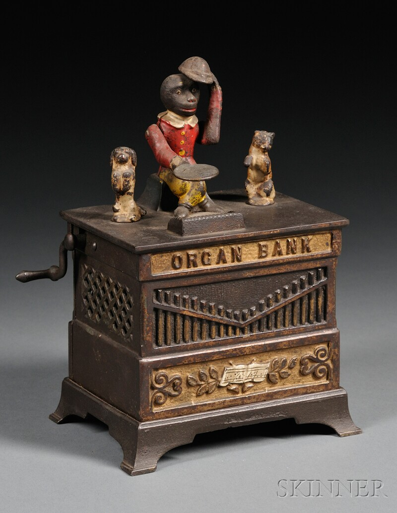 Polychrome and Painted Cast Iron Organ Bank with Cat and Dog