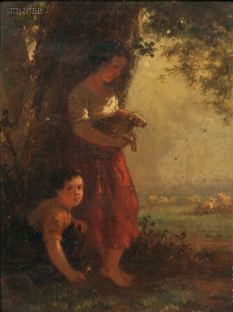 Henri van Seben (Belgian, 1825-1913)      Children with a Lamb