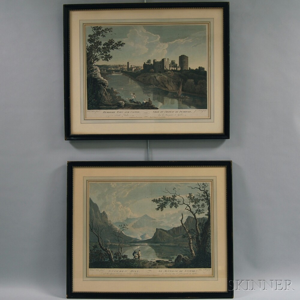 Two Framed Hand-colored Lithographs of Welsh Landscape Views