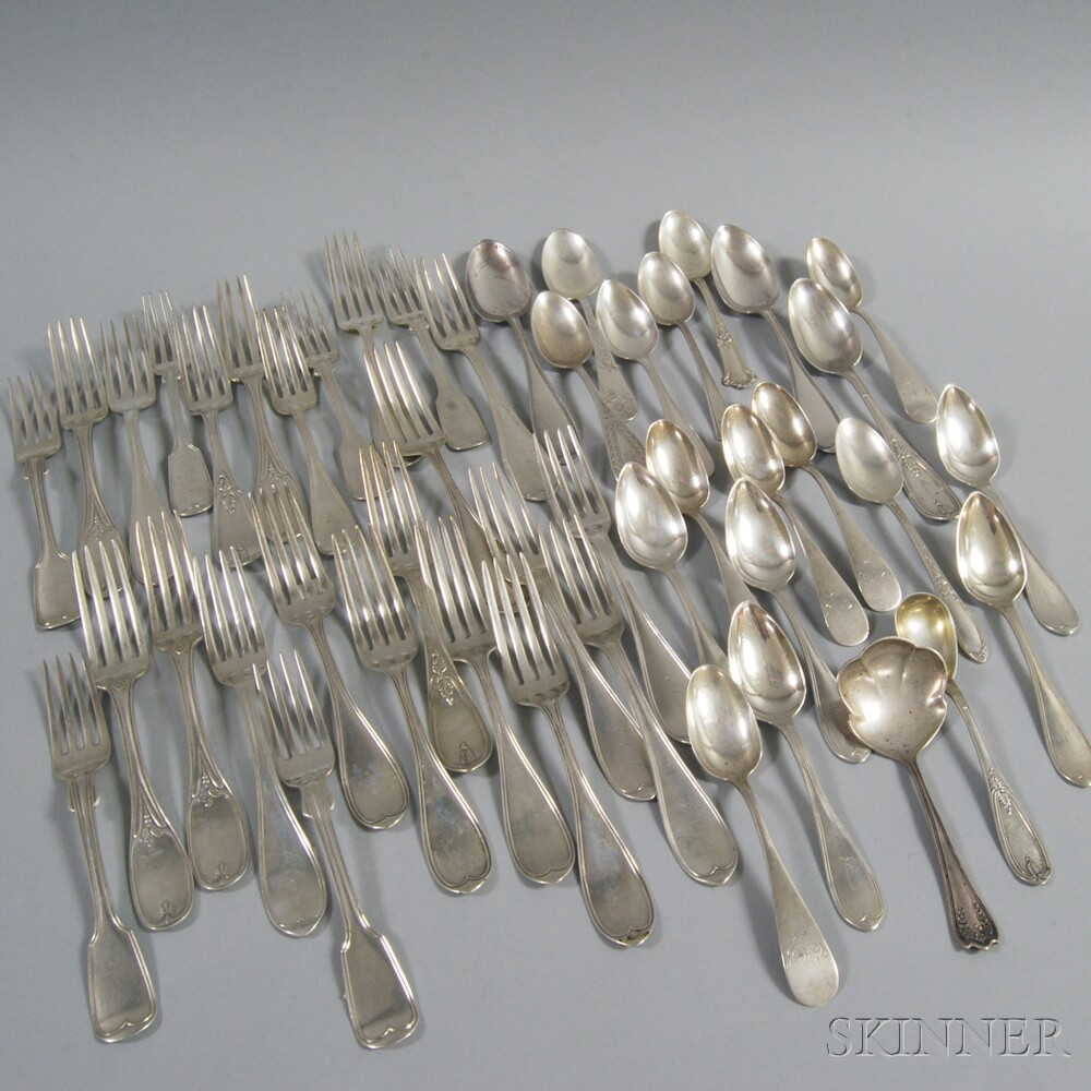 Assorted Group of Mostly Coin Silver Flatware