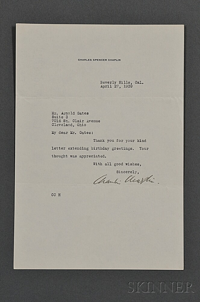 Chaplin, Charles (1889-1977) Signed Photograph and Typed Letter Signed.
