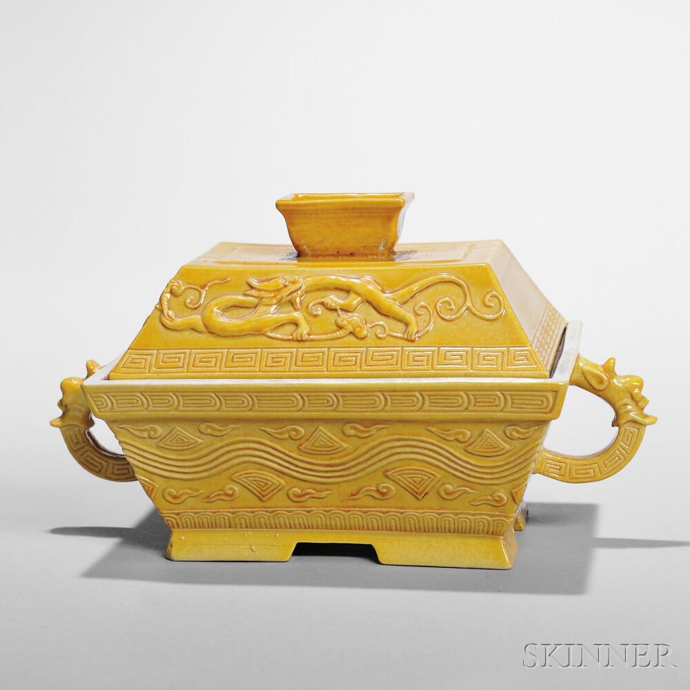 Yellow-glazed Lidded Box