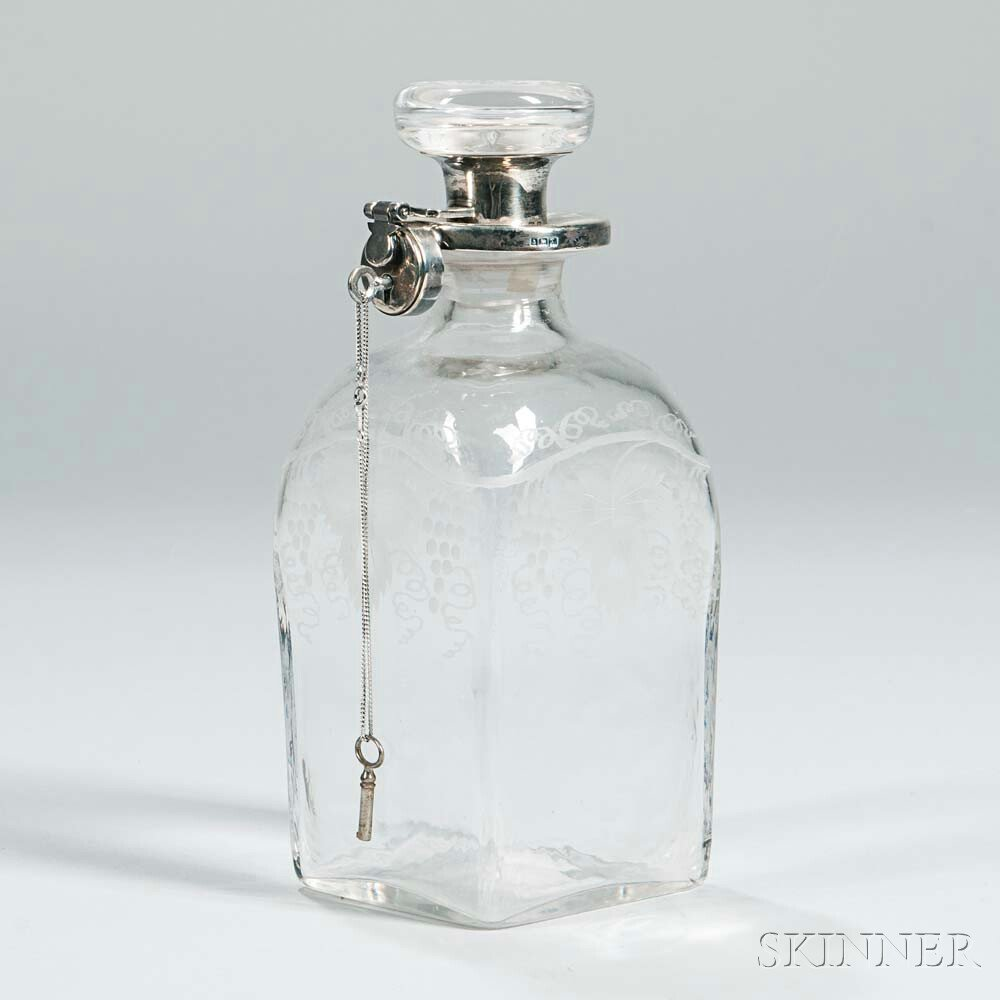 English Silver-Mounted Glass Decanter