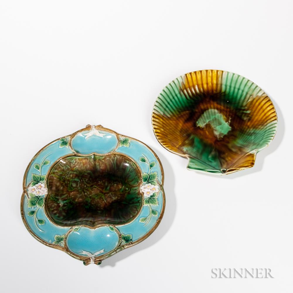 Two Wedgwood Majolica Ceramic Dishes.