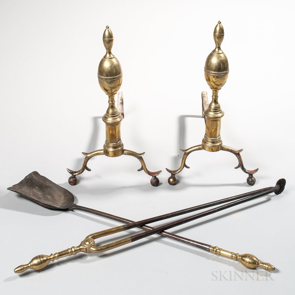 Pair of Brass and Iron Double Lemon-top Andirons and Matching Tools